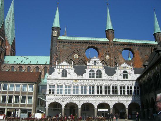 Et udsnit af bygningerne på Markt i Lubeck