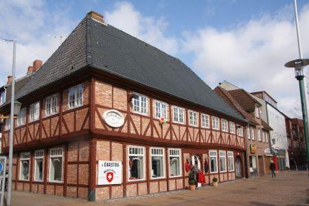 Gammel bindingsværkshus i Rendsborg