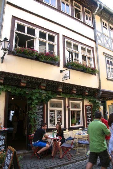 Cafe på Krämerbrücke i Erfurt